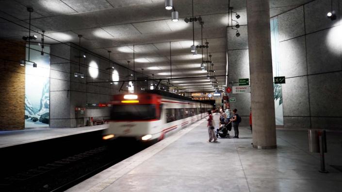 Santurzi - Bahnstation in der Nacht
