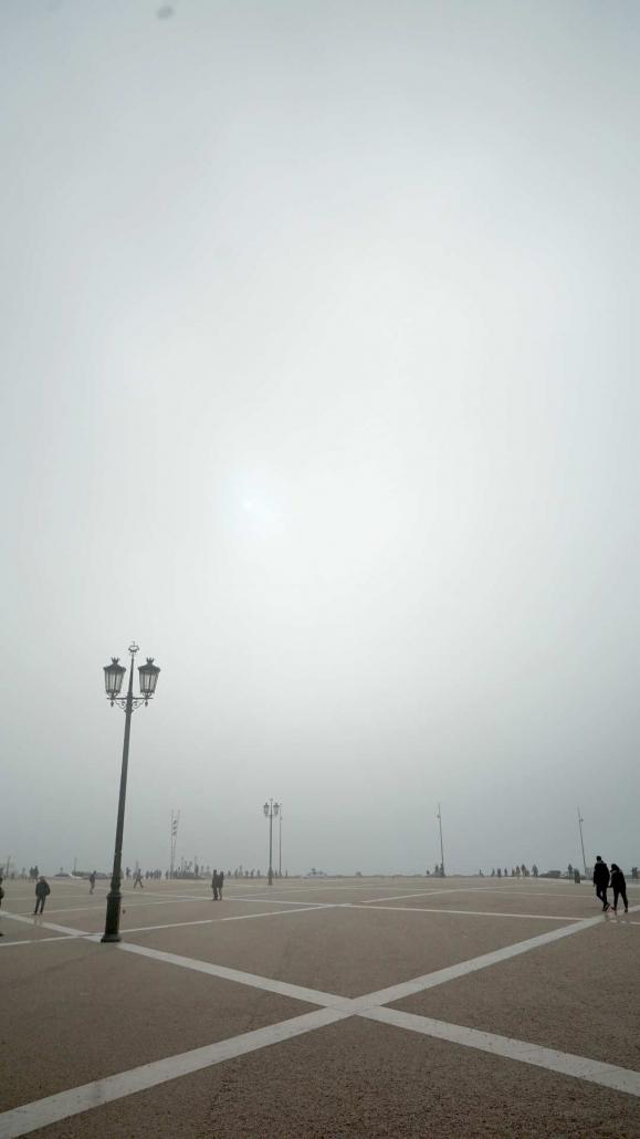 Lissabon - Praca de Commercio im Nebel